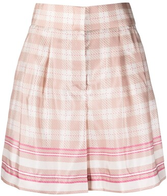 Alberta Ferretti High-Rise Check-Print Satin Shorts