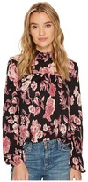 Lucky Brand Mock Neck Floral Top Women's Long Sleeve Pullover