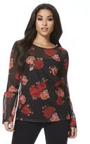 F&F Floral Mesh Long Sleeve Top, Women's