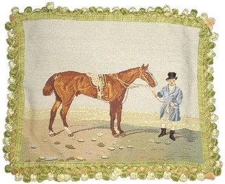 Petit Point Hkh International Horse With Rider Pillow