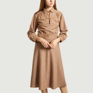 agnès b. Brown Wool Long Sleeve Houndstooth Dress - 36   wool   brown - Brown/Brown