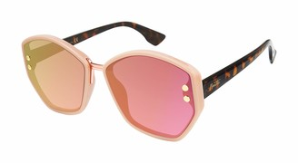 Nanette by Nanette Lepore Women's NN311 Geometric Sunglasses with Metal Brow Bar Studded Lens & 100% UV Protection