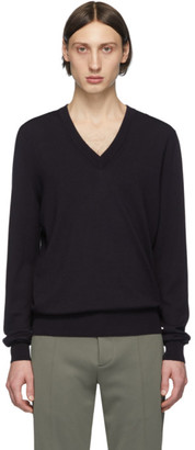 Maison Margiela Navy Elbow Patch V-Neck Sweater