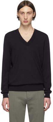 Maison Margiela Navy Elbow Patch V-Neck Sweater