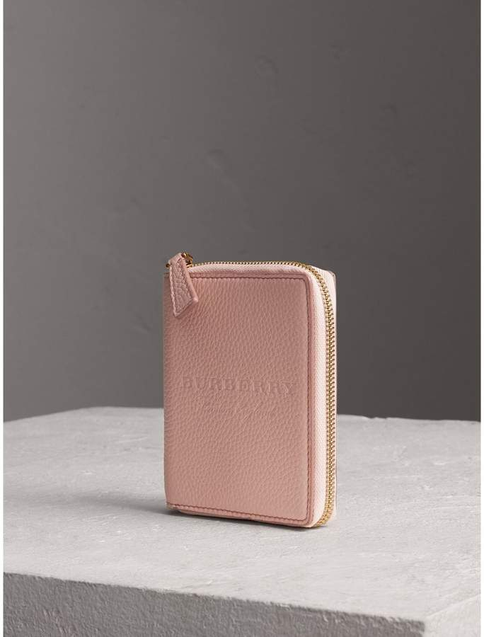 Burberry Embossed Grainy Leather Ziparound A6 Notebook Case, Pink