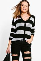 Boohoo Rebecca Sheer Stripe V-Neck Jumper