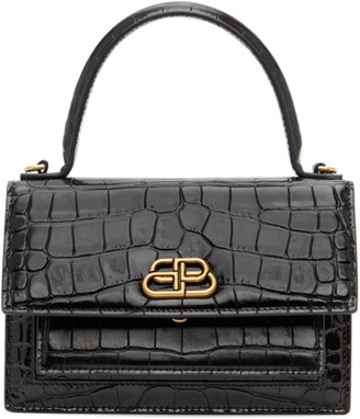 Balenciaga Black Croc XS Sharp Satchel Bag