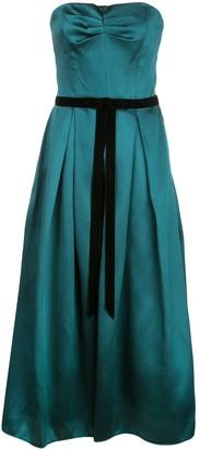 Marchesa satin flared dress