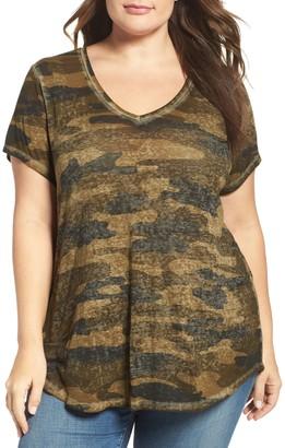 Lucky Brand Camo Print V-Neck T-Shirt (Plus Size)