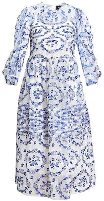 Simone Rocha Pleated Puff-Sleeve Tulle Midi Dress