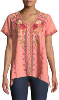 Johnny Was Libbie Embroidered Linen High-Low Top, Plus Size