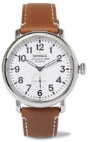 Shinola The Runwell Stainless Steel And Leather Watch - Tan