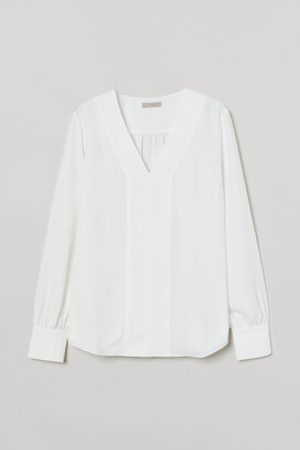 H&M V-neck Blouse - White