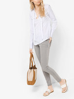 Michael Kors Striped Tie-Neck Blouse