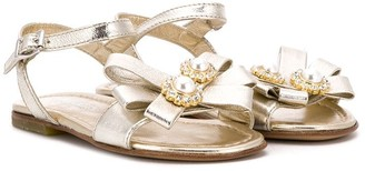 Montelpare Tradition TEEN crystal flower embellished sandals