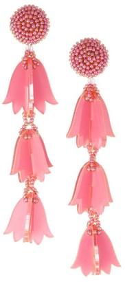 Oscar de la Renta Beaded Bellflower Tassel Drop Earrings