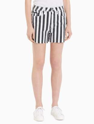 Calvin Klein Slub Twill Wide Stripe High Rise Shorts