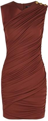 Balmain Brown ruched satin-jersey mini dress