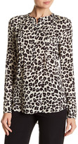 Veronica Beard Henley Long Sleeve Print Silk Blouse