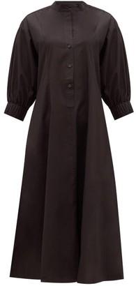 Three Graces London Bianca Balloon-sleeve Cotton Shirt Dress - Black