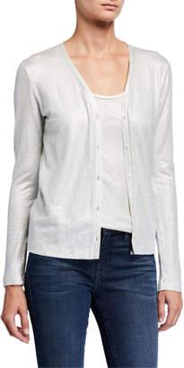 Majestic Filatures Metallic Button-Front Linen Cardigan