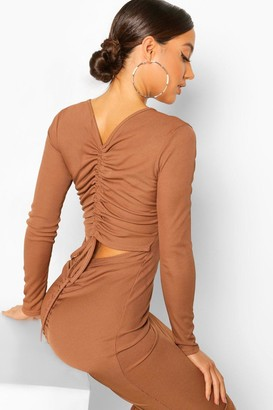 boohoo Rib Rouched Cut Out Back Midi Dress