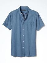 Banana Republic Camden-Fit Custom Wash Denim Short-Sleeve Shirt