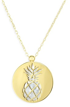 Bloomingdale's 14K Yellow Gold Mother-of-Pearl Pineapple Disc Pendant Necklace, 18 - 100% Exclusive