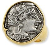 Kenneth Jay Lane Silver Coin Stone Ring Gold Plate-One Size Fits All-Adjustable