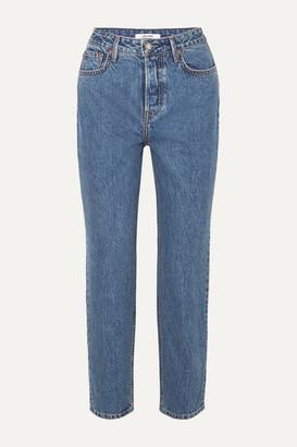 GRLFRND Devon Organic High-rise Straight-leg Jeans - Mid denim