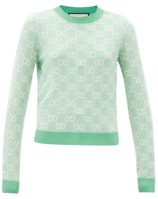 Gucci GG-jacquard Wool-blend Sweater - Green
