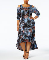 NY Collection Plus Size Cold-Shoulder High-Low Maxi Dress