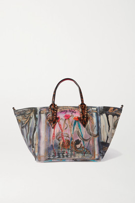 Christian Louboutin Cabaraparis Small Leather-trimmed Embellished Printed Neoprene Tote - Blue