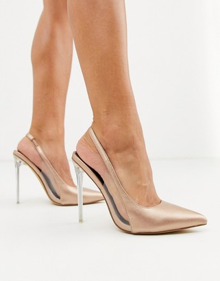 London Rebel pointed stiletto slingback heels in rose gold