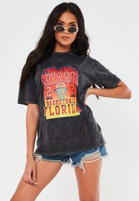 Missguided Gray Acid Wash Basketball Flame T Shirt