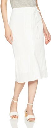 EVIDNT Women's Midi Wrap Skirt with Button Details