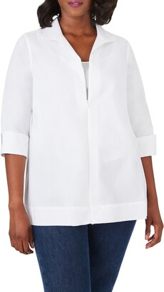 Foxcroft Lydia Zip Front Stretch Cotton Blend Blouse