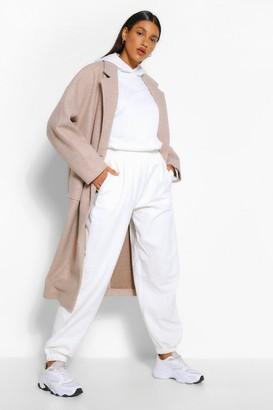 boohoo Double Breasted Longline Wool Look Coat