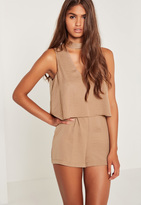 Missguided Nude Silky Double Layer Choker Romper