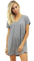 Michael Lauren Adler Oversized Double V Neck Tee in Heather