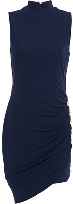 Balmain Asymmetric Button-embellished Stretch-crepe Dress