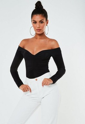 Missguided Petite Black Slinky Ruched Bust Bodysuit