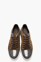 Lanvin Olive green patent and suede tennis shoes