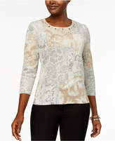 Alfred Dunner Eskimo Kiss Embellished Printed Sweater