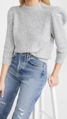 Autumn Cashmere Tweed 3/4 Puff Sleeve Crew Sweater