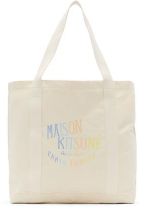 MAISON KITSUNÉ Off-White Rainbow Palais Royal Shopping Tote