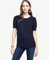 Ann Taylor Petite Shirred Short Sleeve Blouse