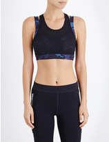 Ivy Park Double-layered camouflage mesh sports bra
