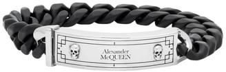 Alexander McQueen Black and Silver Identity Chain Bracelet