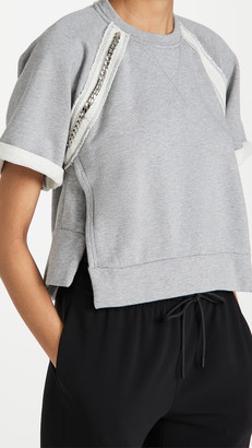 No.21 Jewel Embellished Short Sleeve Sweatshirt